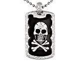 Men's Stainless Steel Black Plated Skull And Crossbones Pendant With Chain