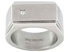 9mm Men's Stainless Steel With 0.09ctw Diamond Simulant Flat Top Ring
