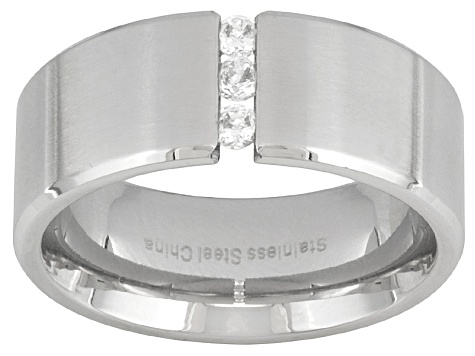 Men's Brushed Stainless Steel With 0.27ctw Diamond Simulant Wide Band