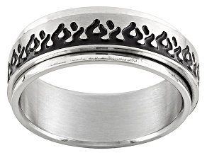 8mm Men's Brushed Stainless Steel With Black Flame Spinner Polished Edge Ring