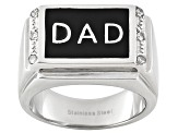 6mm Men's Stainless With .08ctw Diamond Simulant Dad Ring