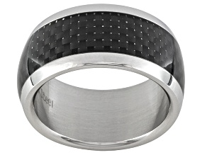 11mm Men's Polished Stainless Steel With Carbon Fiber Center Band