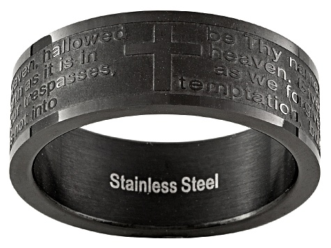 Men's Black Plated Stainless Steel Lord's Prayer Band