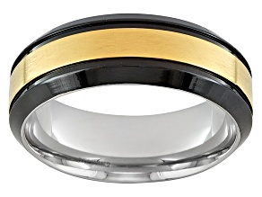 8mm Stainless Steel With Gold Plated Center And Black Plated Edge Band