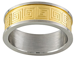 8mm Stainless Steel With Greek Key Gold Tone Center And Polished Silver Tone Edge Band Ring