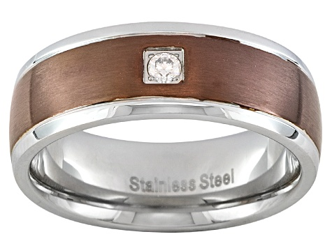 8mm Stainless Steel With 0.07ctw Diamond Simulant And Copper Tone Band