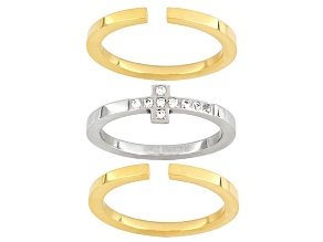 Stainless Steel And 18k Yellow Gold Over Stainless Steel Ring With Diamond Simulant Cross Ring