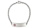 Stainless Steel Rounded Plate Medical Id Bracelet 7.5 inch