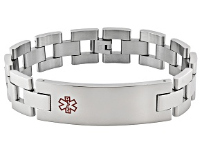 Men's Stainless Steel Large Rectangular Plate Medical Id Bracelet