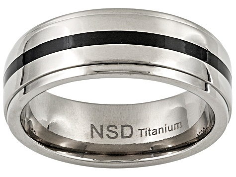 8mm Men's Titanium With Black Enamel Center Band Ring