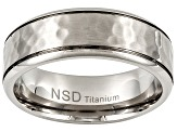 8mm Men's Titanium Hammered Band Ring