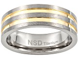 8mm Men's Brushed Titanium With Gold Tone Ion Plated Grooves Band Ring