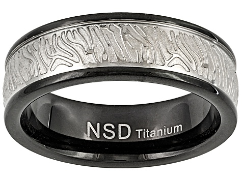 6mm Men's Titanium With Etched Bark Design And Black Ion Plating Band