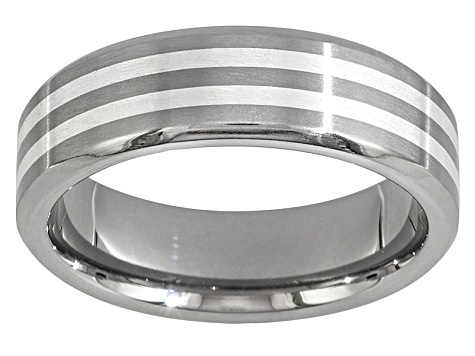 6mm Men's Titanium With Silver inlay Band Ring