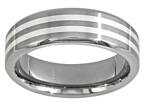 6mm Mens Titanium With Silver Inlay Band Ring