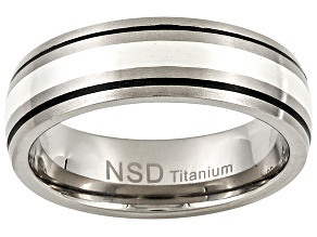 6mm Brushed Titanium With Black Grooves And Silver Inlay Band Ring
