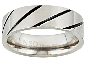 6mm Brushed Titanium With Black Enamel Diagonal Design Band Ring