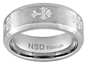 Men's Brushed Titanium With Cross Design Polished Edge Band Ring
