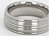 8mm Cobalt Chrome 3-Row Ribbed Wedding Band