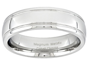 Cobalt Chrome Ribbed Edge Wedding Band