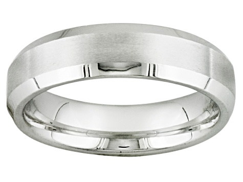 Brushed Cobalt Chrome With Beveled Edge Wedding Band