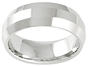 8mm Cobalt Chrome Beveled Edge Wedding Band