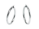 Stainless Steel Polished Tube Hoop Earrings