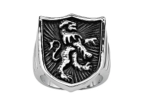 Men's Stainless Steel Shield With Lion Ring
