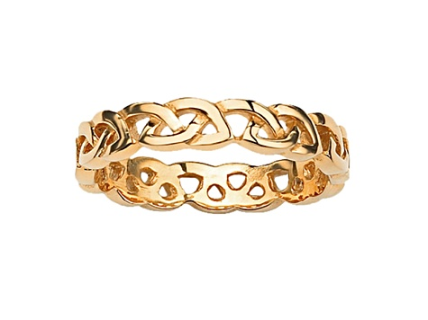 Gold Tone Ion Plated Stainless Steel Celtic Knot Ring