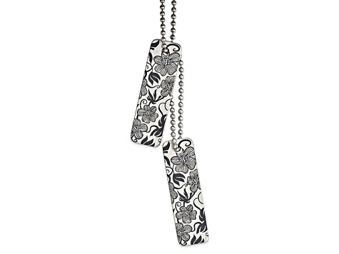 Stainless Steel Bloom Thin Pendant 24 inch Necklace