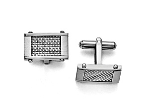 Stainless Steel Grey Carbon Fiber Rectangle Cuff Links