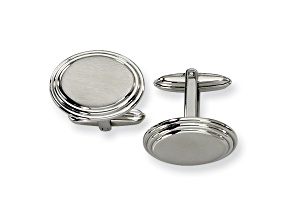 Stainless Steel Brushed And Polished Ribbed Edge Oval Cuff Links
