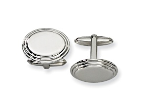 Stainless Steel Polished Ribbed Edge Oval Cuff Links