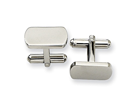 Stainless Steel Polished Oblong Cuff Links