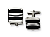 Black Enamel Stainless Steel Triple Striped Cuff Links