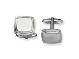 Stainless Steel Tapered Ribbed Edge Cuff Links
