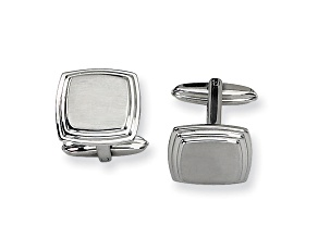 Stainless Steel Brushed And Polished Taperd Edge Cuff Links
