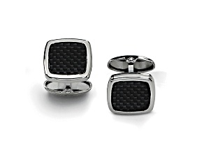 Stainless Steel Black Carbon Fiber Center Square Cuff Links