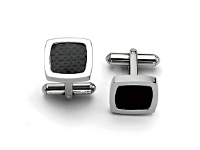 Stainless Steel Black Carbon Fiber Framed Cuff Links