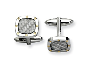 Stainless Steel And Yellow Tone Ip Plating Grey Carbon Fiber Cuff Links