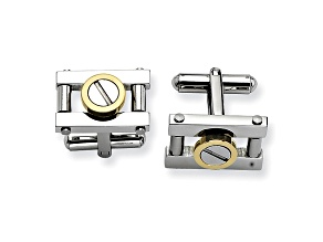 Stainless Steel And Yellow Ip Plating Over Stainless Steel Cuff Links