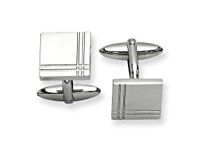 Stainless Steel Geometric Design Cuff Links