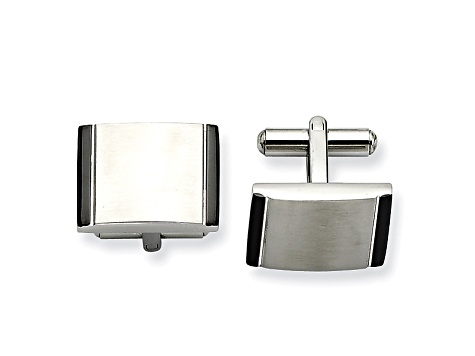 Black Acrylic Accent Stainless Steel Rectangle Cuff Links