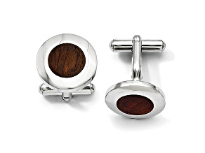 Wood inlay Stainless Steel Round Cuff Links