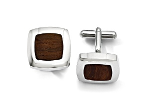Wood inlay Stainless Steel Square Cuff Links
