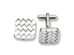 Stainless Steel Basket Weave Design Cuff Links