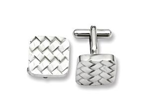 Stainless Steel Basket Weave Design Cuff Links
