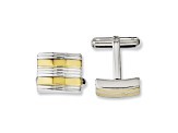 Yellow Ip-Plated Stainless Steel And Stainless Steel Striped Cuff Links