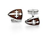 Wood inlay Stainless Steel Polished Cross Cuff Links