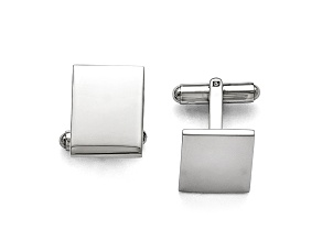 Stainless Steel Polished Rectangle Cuff Links